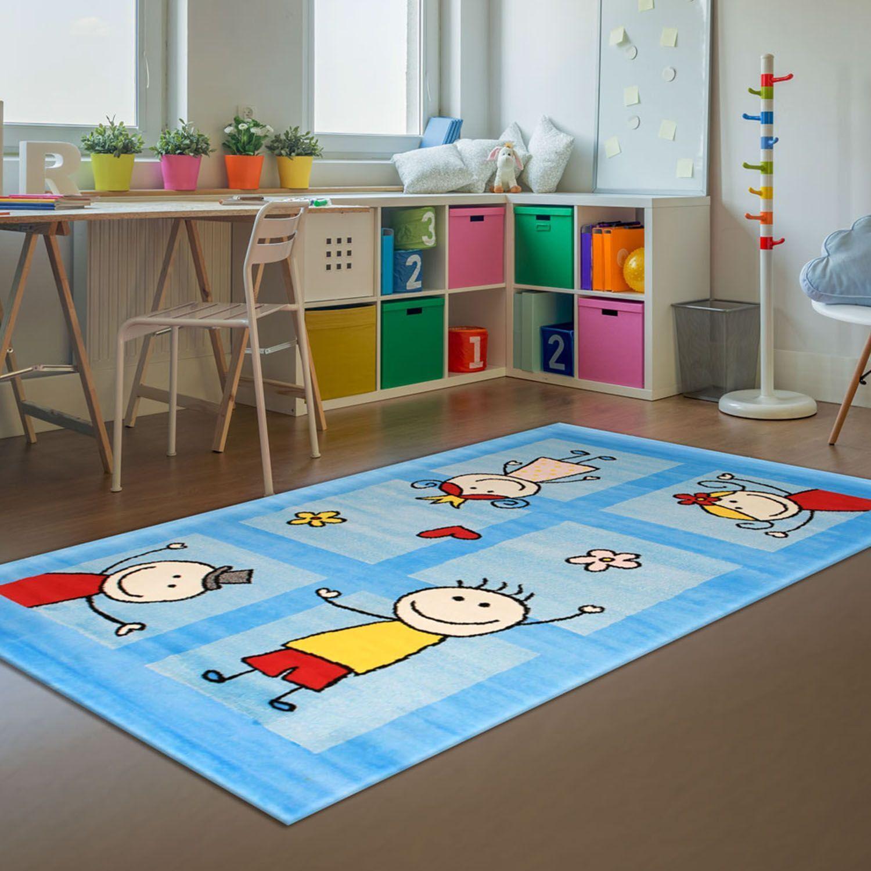 Kinder-Teppich Bambino Flachflor Modern Strichmännchen Herz Blau Kinderzimmer