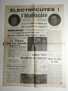 N392-La-Une-Du-Journal-L-039-humanite-20-juin-1953-Eisenhower