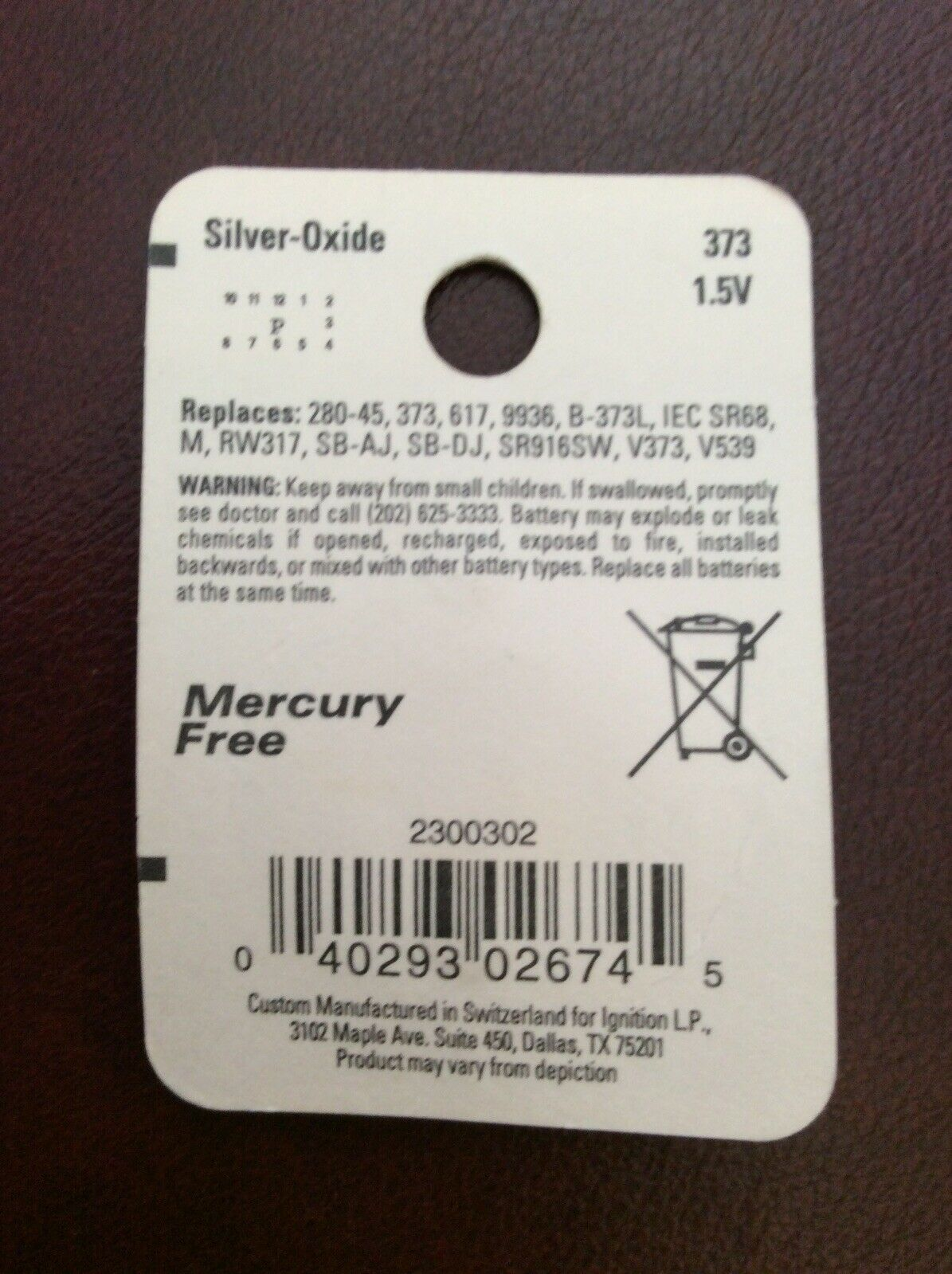 """""""NEW/SEALED"""" ENERCELL 373 Silver-Oxide Battery 1.5V Coin Cell/Button #23-302"""