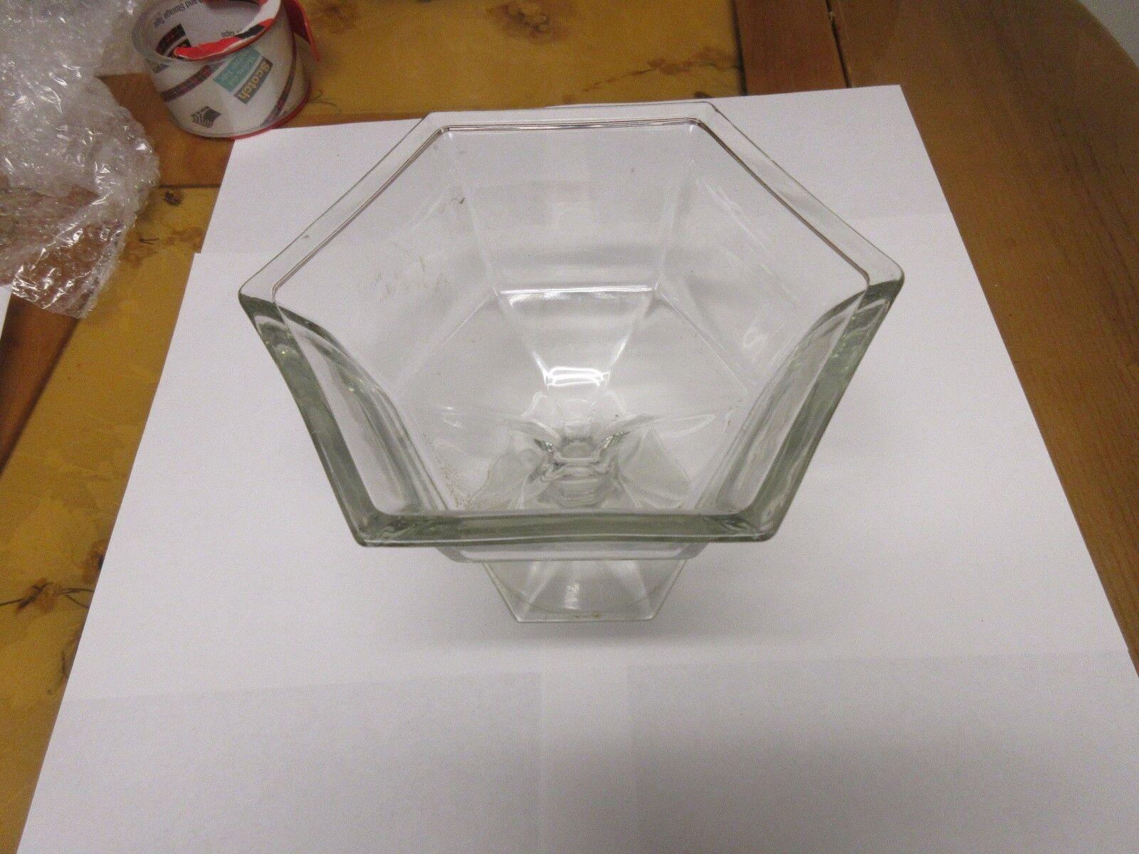 "Pedestal Candy Dish ,6 Sided , Glass , Vintage , 7 1/2"""