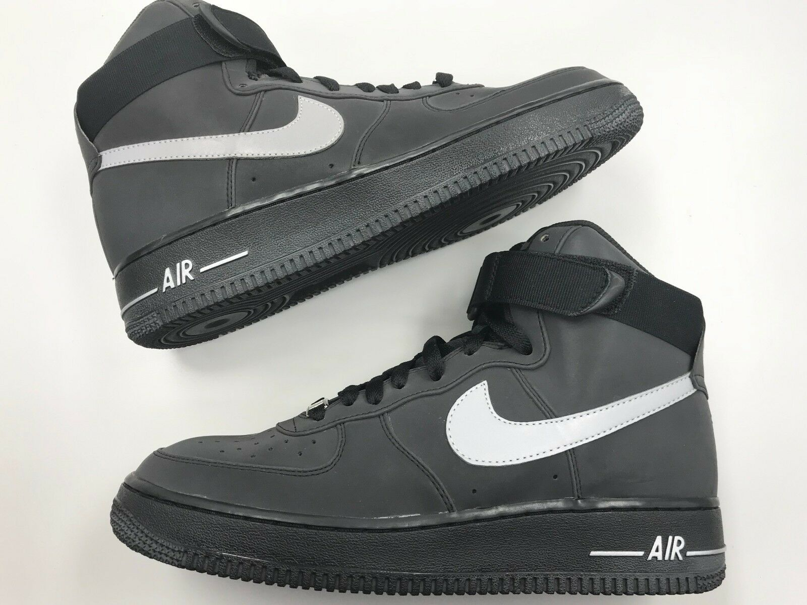 DS Nike Air Force 1 High Premium LE reflective black metallic silver men shoes