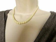 """Beautiful 16"""" Cream Glass Pearl Graduated Choker Necklace Vintage Style Clasp"""