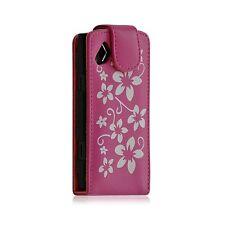 Housse coque étui pour Samsung Wave s8500 motif fleur couleur rose fuschia