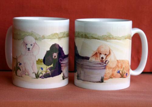 POODLE DOG MUG OFF TO THE DOG SHOW WATERCOLOUR PRINT SANDRA COEN ARTIST