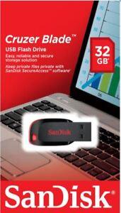 SanDisk 32GB USB 2.0 Memory Stick USB Flash Pen Drive Cruzer Blade Black 778890685873