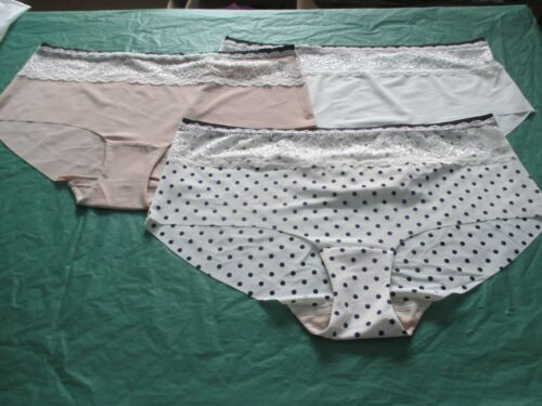 3 Pack Ladies Super Soft No VPL Low Rise Shorts//knickers with Laced Top size 14