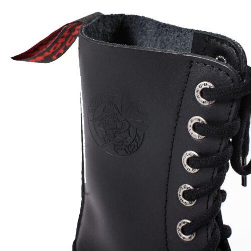 10 Loch Stiefel Rangers Schwarz Made in EU Echtleder Angry Itch