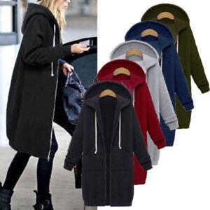 Damen-Jacke-Sweatjacke-Ubergangsjacke-Kapuzenjacke-Zip-Hoodie-Sweater-Warm-Lang