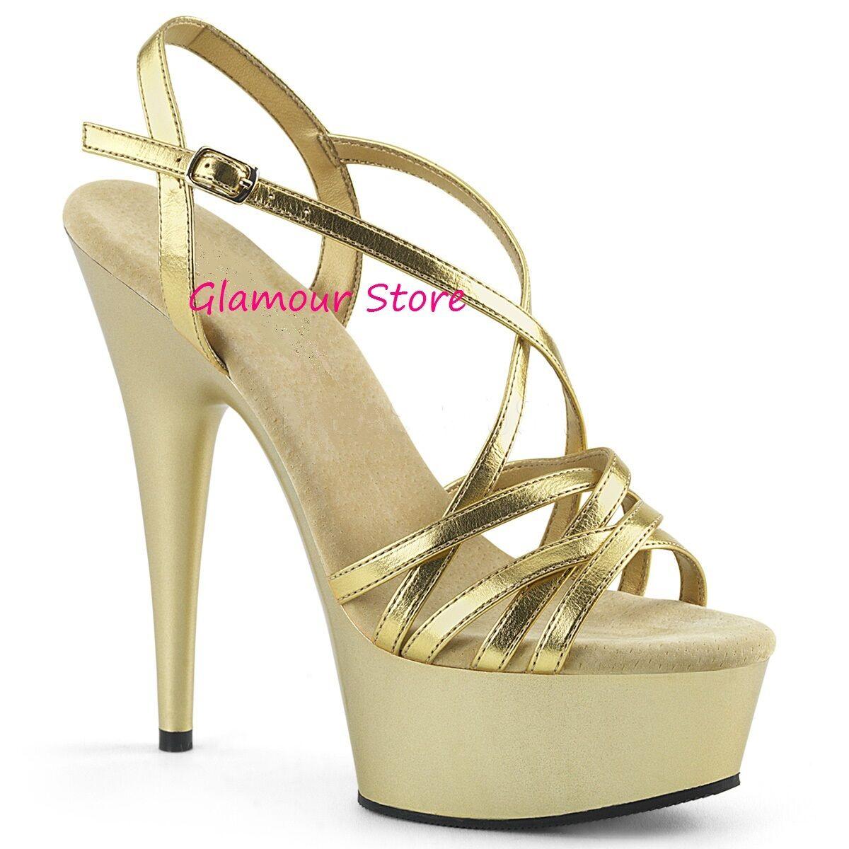 Sexy SANDALI ORO tacco 44 15 dal 35 al 44 tacco plateau cinturino scarpe GLAMOUR club 0d5973
