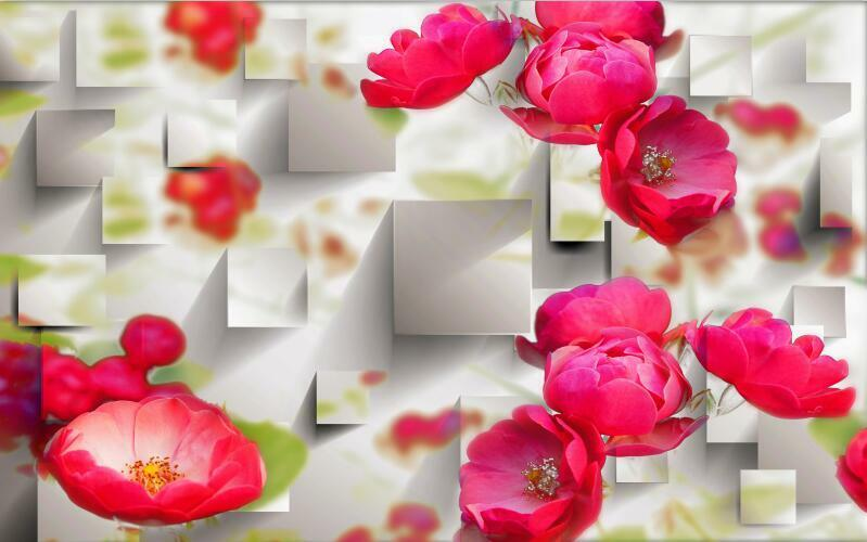 3D Texture red flower space Wall Paper Print Decal Wall Deco Indoor wall Mural