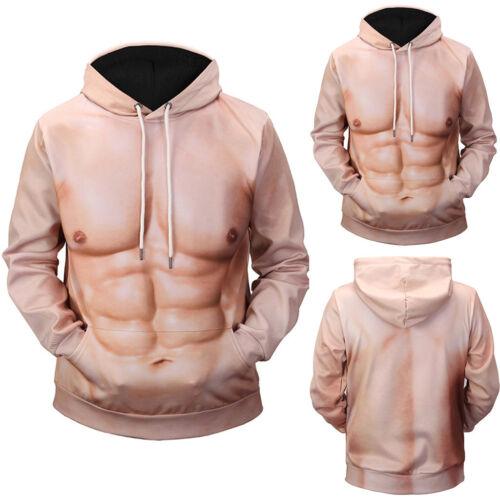 Creative Men/'s Fashion Funny 3D Muscle Printing Hoodie Sweatshirt Top Blouse US