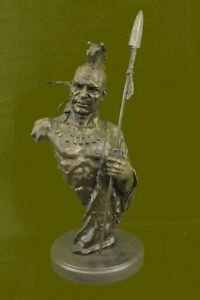 NATIVE-AMERICAN-INDIAN-CHIEF-GERONIMO-BUST-SPEAR-BRONZE-STATUE-SCULPTURE-FIGURE