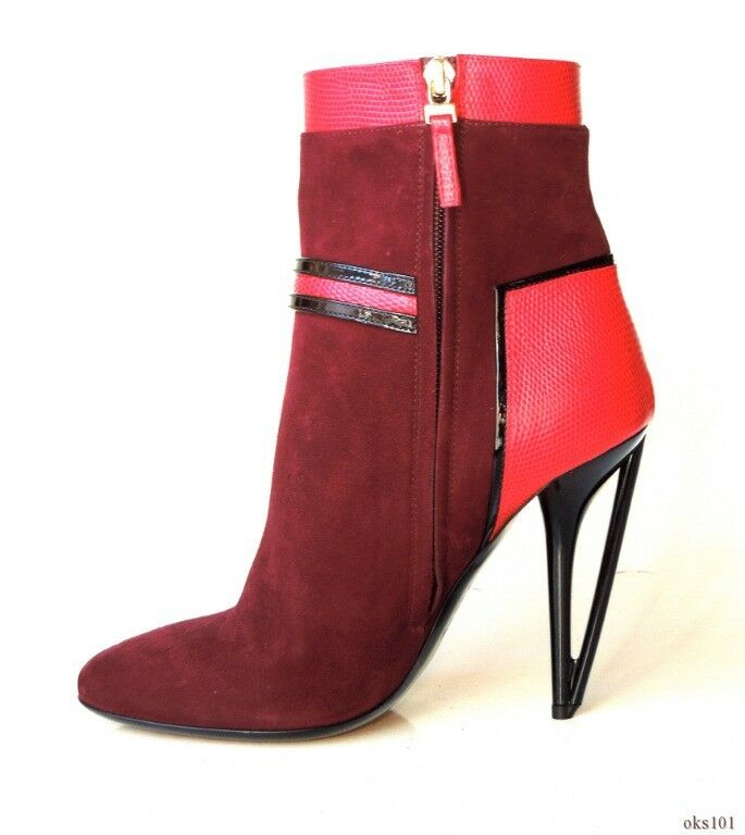 New  1100 FENDI burgundy suede red leather unique heel heel heel ANKLE BOOTS 40 10 amazing c997a8