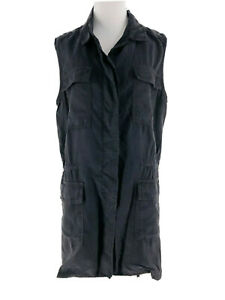 Buffalo-Women-039-s-Gray-Sleeveless-Collared-Military-Vest-Jacket-Size-Medium-NEW