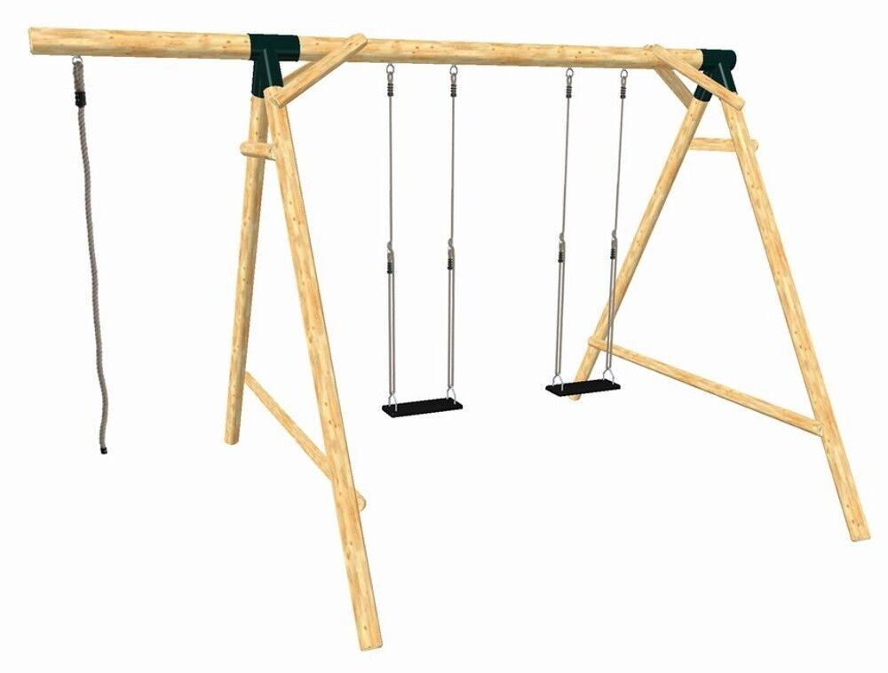 Schaukel Doppelschaukel Spielturm Schaukelgestell Schaukelsitz Lärche massiv