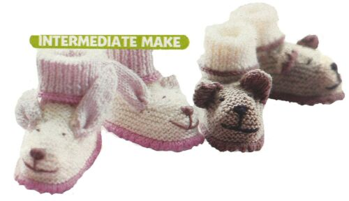 ANIMAL BOOTEES BUNNY /& BEAR KNITTING PATTERN 6 TO 9 MONTHS 1747