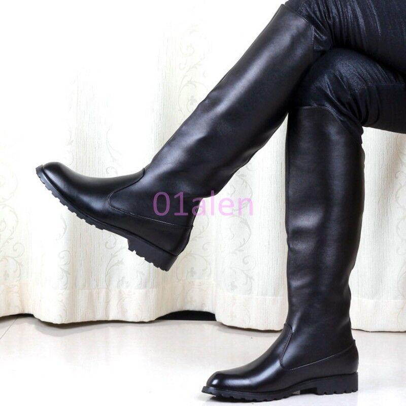 Zapatos De Cuero Hot Para Hombre Cremallera Trasera la rodilla alta botas de montar combate militares Larga