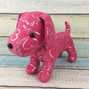 Love-Puppy-Pink-Silver-Plush-14-034-Stuffed-Animal-Hearts-Weiner-Valentine-Day-Gift