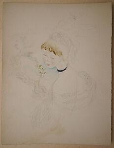 Aquarelle-Originale-JANINE-JANET-Portrait-Femme-Miroir-1950-Projet-Couverture