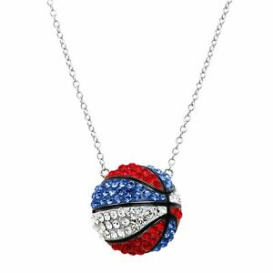 Crystaluxe Patriotic Basketball Necklace w Swarovski Crystals in Sterling Silver