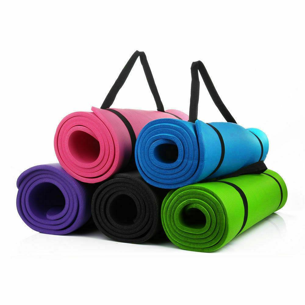 "Extra Thick Non-slip Yoga Mat Pad Exercise Fitness Pilates w/ Straps 24""x10"" @"