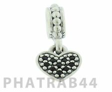 Authentic Retired Pandora Silver Black Crystal Star Pave Heart Dangle 791023NCK