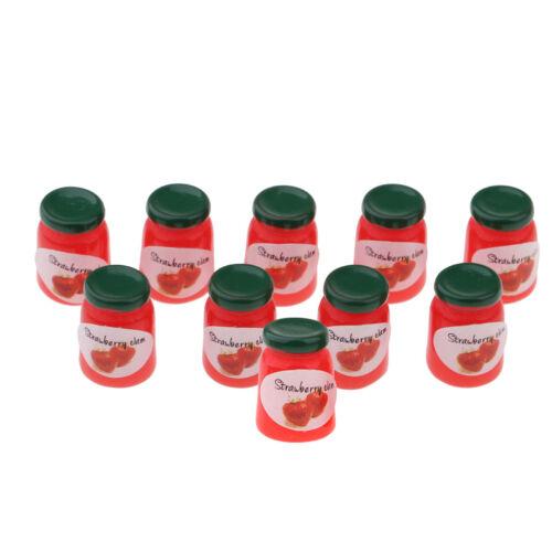 1//12 Miniatur Strawberry Jam Flaschen Puppenhaus Küche Ornament 10 Stück
