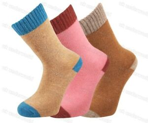 8706931d434e3 Details about 3 Pairs Ladies 2 Tone Merino Lambs Wool 2.4 Tog Socks Womens  Walking Work Boots