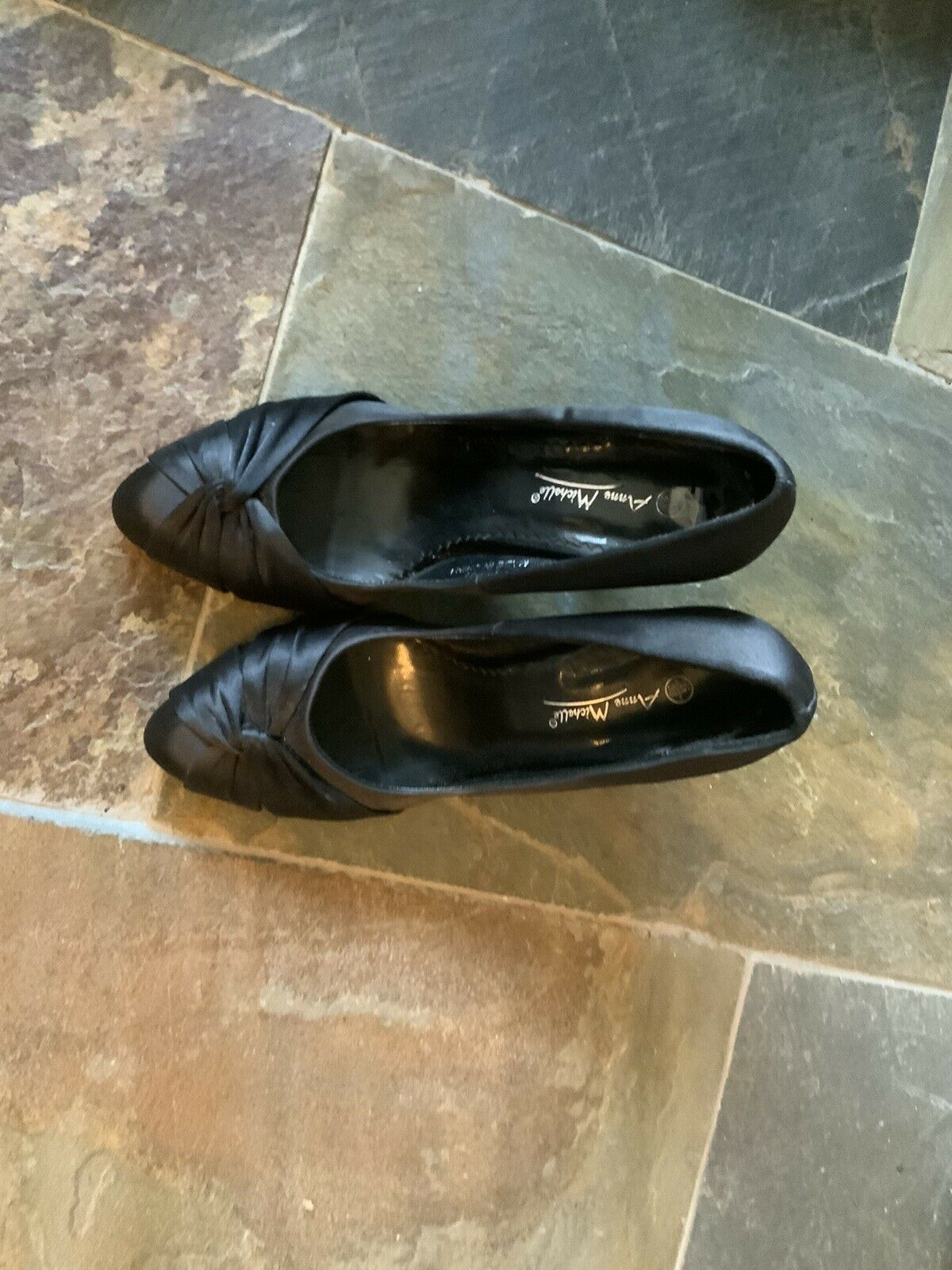 Womens Anne Michelle Black Satin Heels Ht10cms Suitable For Weddings/evening 5.5