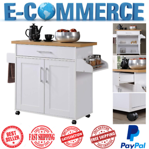 Details About Luxury Mobile Kitchen Island White With E Rack Towel Drawer Two Doors