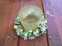 Christmas Holiday Mantle Glass Votive Beaded Bangle Candle Ring Holder Green