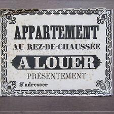 AFFICHE ANCIENNE 1810 APPARTEMENT AU RDC A LOUER MAISON IMMOBILIER IMPRIMERIE