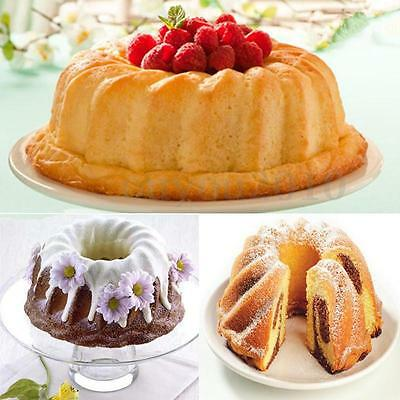 Swirl Bundt Ring Silicone Cake Bread Pastry Tray Pan Bakeware Mould Decor Cool