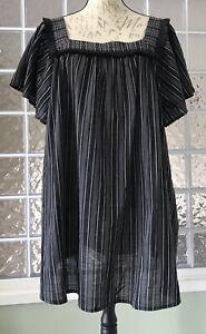 ISABEL-MATERNITY-Target-NWT-Black-Vertical-Stripe-Fringe-Boho-Top-Blouse-XL