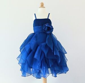 bfb6f3b89b1 Image is loading Ruffled-Organza-Flower-Girl-Dress-Pageant-Wedding-Birthday-