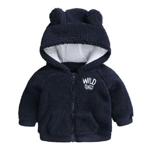 Newborn Baby Boy Hooded Fur Coat Winter Warm Thick Cloak Jacket Clothes New