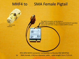 MHF4 to SMA Female Pigtail for 3G/UMTS/4G/LTE/5G Antenna 15cm 5.9 inch low loss