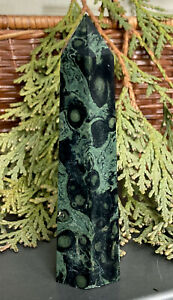 80g UNIQUE NATURAL EYE GREEN KAMBABA JASPER CRYSTAL HEALING WAND Reiki  S.AFRICA
