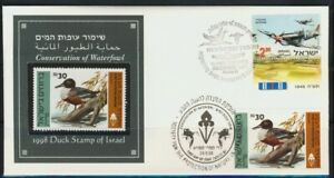 ISRAEL-STAMPS-1998-BIRDS-DUCKS-SPECIAL-FDC-MNH-FAUNA