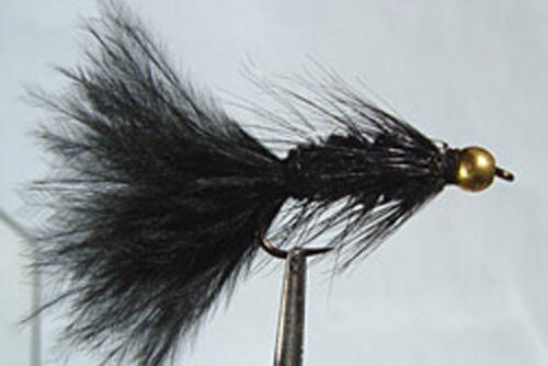1 x Mouche Streamer Wooly Bugger Noir Bille H6//8//10//12 fly truite black bead