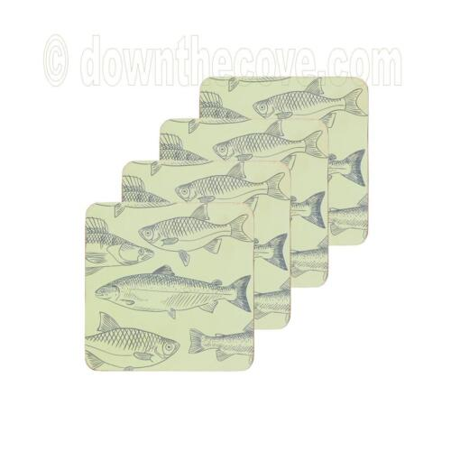 Kitchen Craft Drinks Coasters x 4 Fish Coasters Traditional Fish Design