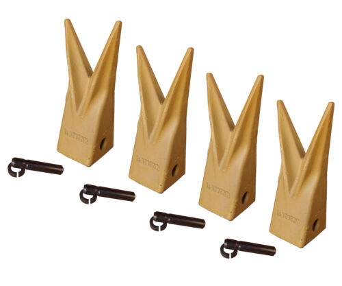 1U3202WTL Set of 4 Backhoe Bucket Cat Style Tiger Teeth with pins /& retainers