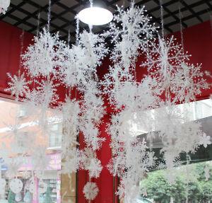 30x-Schneeflocken-11cm-Snowflakes-Weihnachtsbaumdeko-Christbaumschmuck-Aufhaengen