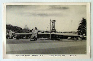Details About 1930 S Cars In Front Of The Log Cabin Farms Restaurant Armonk New York Postcard