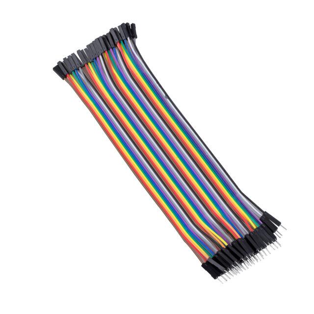 40 Stueck 1 Pin Stecker auf Buchse Bruecker-Kabel 20cm lang GY