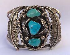 VTG Old Pawn Native American Navajo Sterling Silver Turquoise Leaf Cuff Bracelet