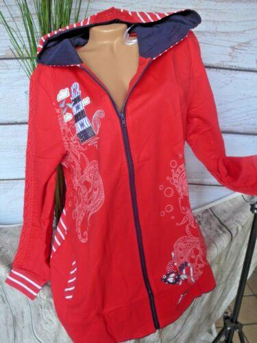 Joe Browns Sweatjacke Pull Femmes rouge a motifs avec capuche grande taille 648