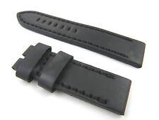 24mm Black Leather Watch Band Strap Fits Panerai