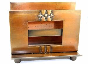 Vtg-ART-DECO-Modernist-ROYCROFT-Copper-Desk-LETTER-PEN-HOLDER-w-PHOTO-FRAME