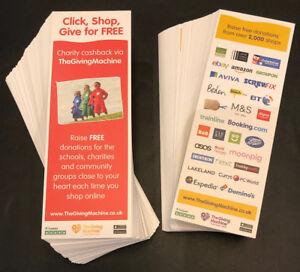 150 TheGivingMachine charity promo bookmarks